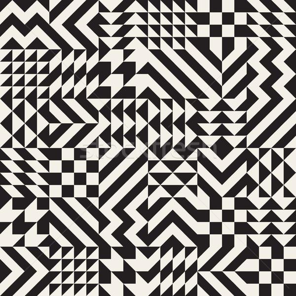 Vector Seamless Black and White Irregular Geometric Blocks Pattern Stock photo © Samolevsky