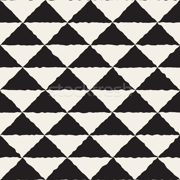 Stock photo: Vector Seamless  Hand Painted Line Geometric Triangles Checker Pattern