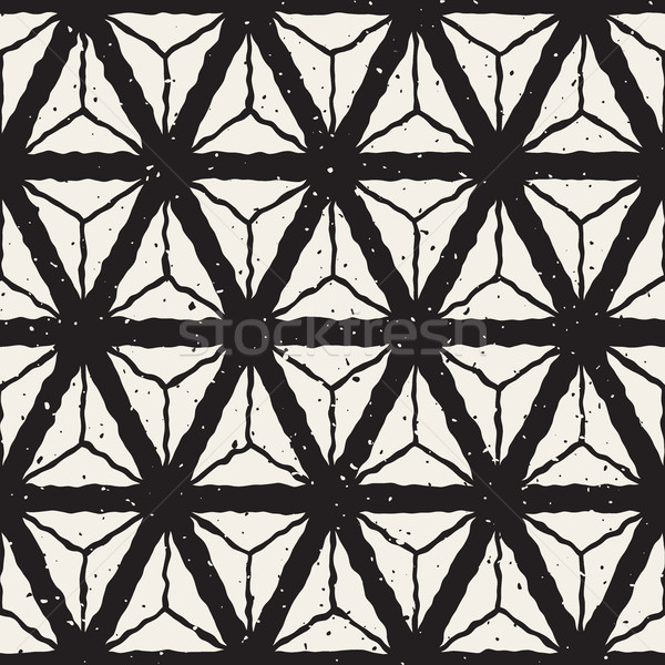 Vector Seamless Hand Painted Triangles Geometric Grid Retro Pattern Stock photo © Samolevsky