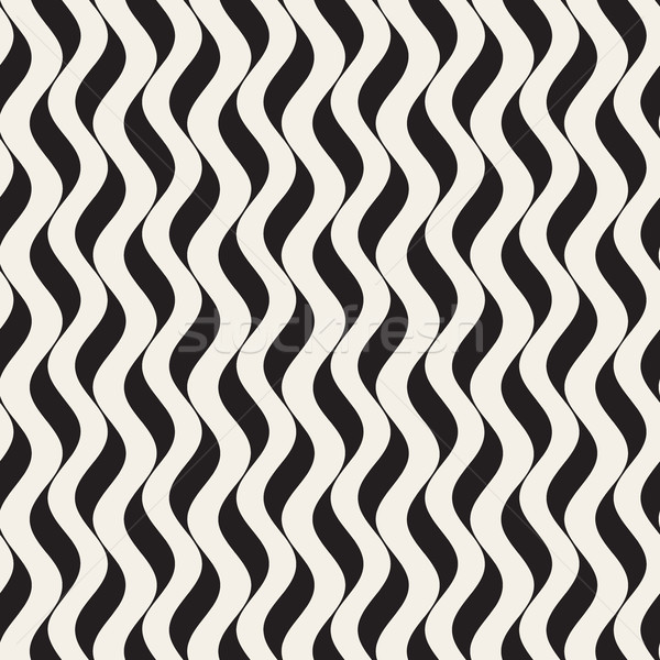 Vector Seamless Black and White Wavy Vertical Lines Pattern Stock photo © Samolevsky