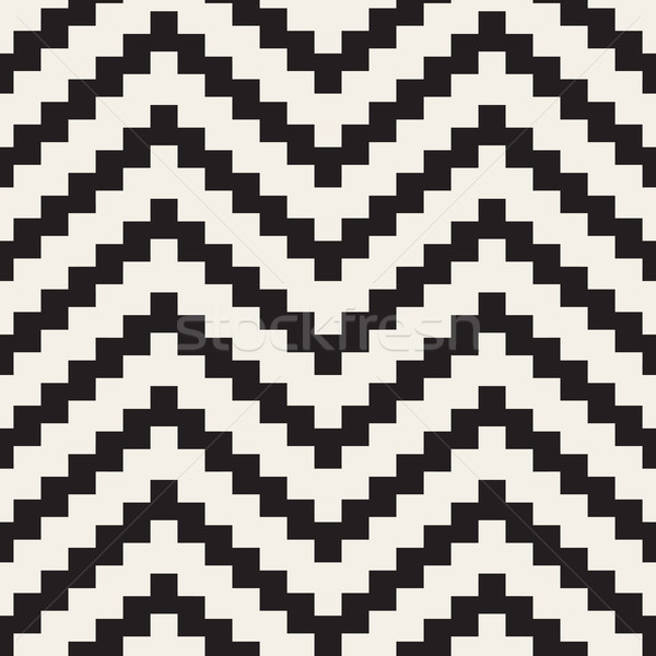 Vector Seamless Black and White ZigZag Jagged Lines Geometric Pattern Stock photo © Samolevsky