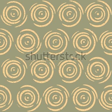 Vector Seamless Hand Drawn Geometric Lines Circular Retro Grungy Pattern Stock photo © Samolevsky