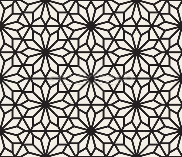 Vector Seamless Black And White Geometric Hexagon Lines Pattern Stock photo © Samolevsky