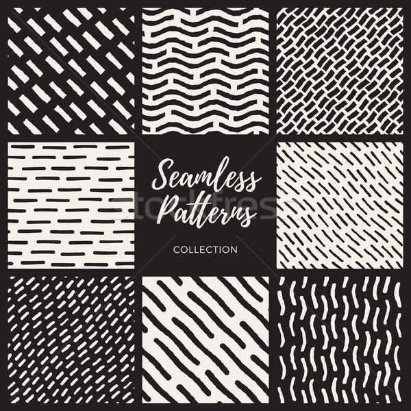 Set of Nine Vector Seamless Lines Patterns Collection Stock photo © Samolevsky