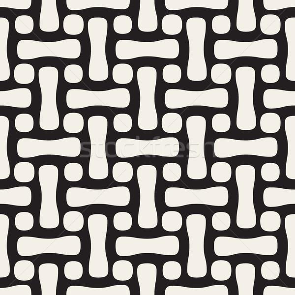 Wektora bezszwowy circles wzór czarno białe streszczenie Zdjęcia stock © Samolevsky