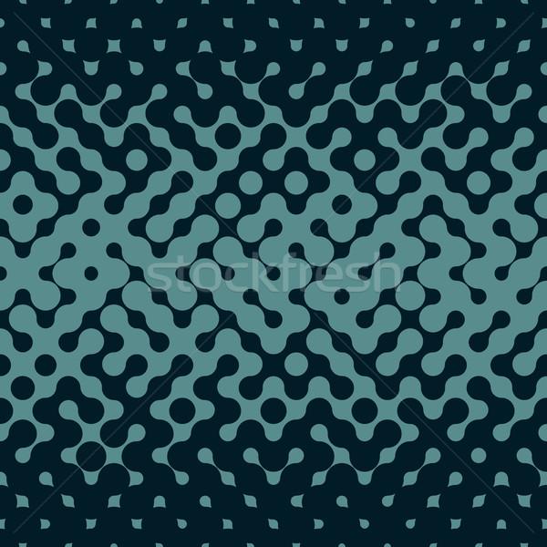 Vector Seamless Halftone Gradient Rounded Irregular Navy Blue Pattern Stock photo © Samolevsky