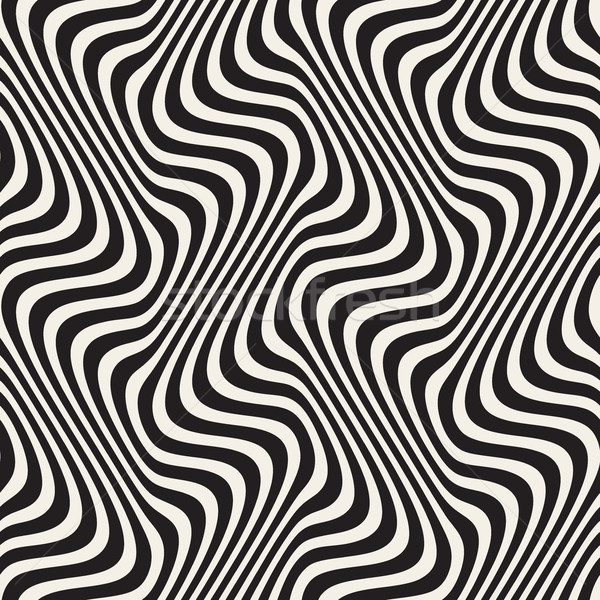 Wavy Lines Optical Illusion. Vector Seamless Black and White Pattern. Stock photo © Samolevsky