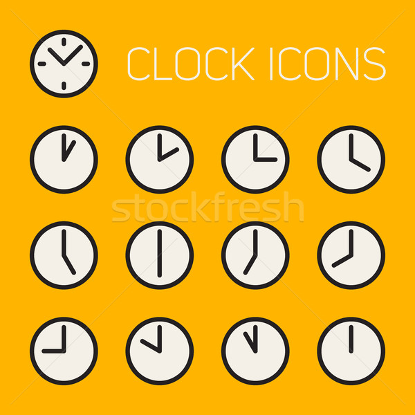 Set of Thirteen Vector Minimalistic Line Art Geometric Black and White Round Clock Time Icons Stock photo © Samolevsky