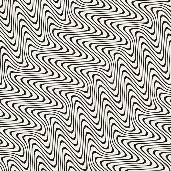 Photo stock: Ondulés · lignes · effet · vecteur · blanc · noir