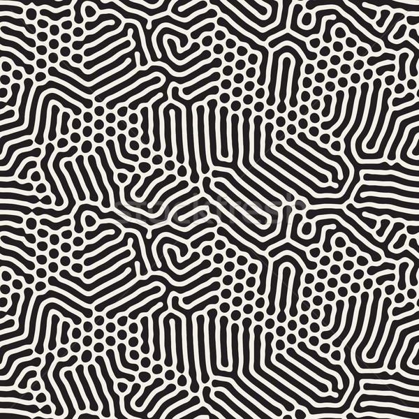 Organic Irregular Rounded Lines. Vector Seamless Black and White Pattern. Stock photo © Samolevsky