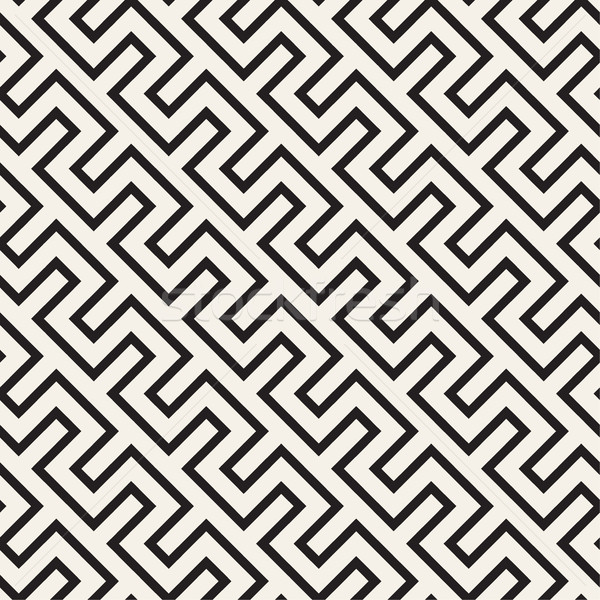 Trendy Monochrome Line Lattice. Vector Seamless Black and White Pattern. Stock photo © Samolevsky