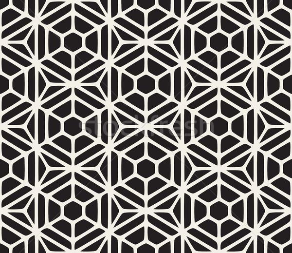 ベクトル シームレス 黒白 幾何学的な 六角形 グリッド ストックフォト © Samolevsky