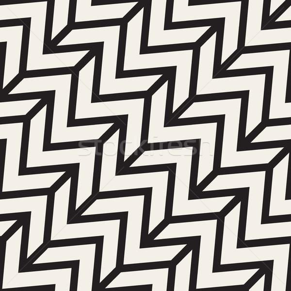 зигзаг нервный вектора бесшовный черно белые Сток-фото © Samolevsky