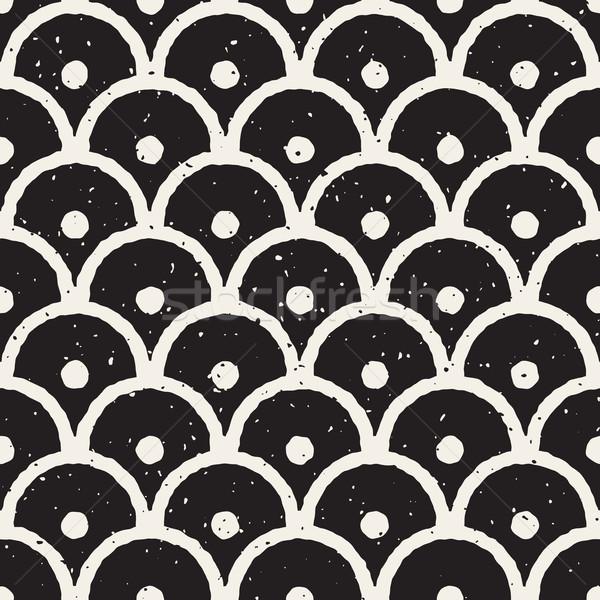 Vector Seamless Hand Painted Line Geometric Circular Oriental Grungy Pattern Stock photo © Samolevsky