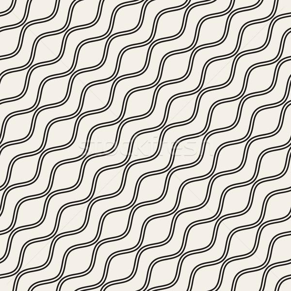 波浪狀的 波紋 線 向量 無縫 黑白 商業照片 © Samolevsky