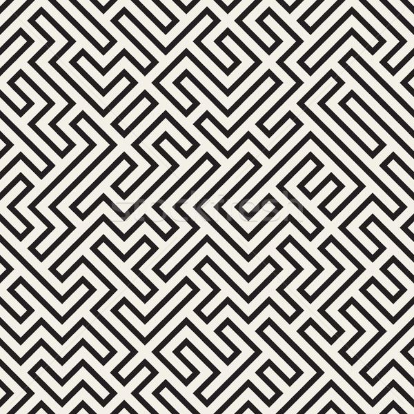 Labirent hatları vektör siyah beyaz model Stok fotoğraf © Samolevsky