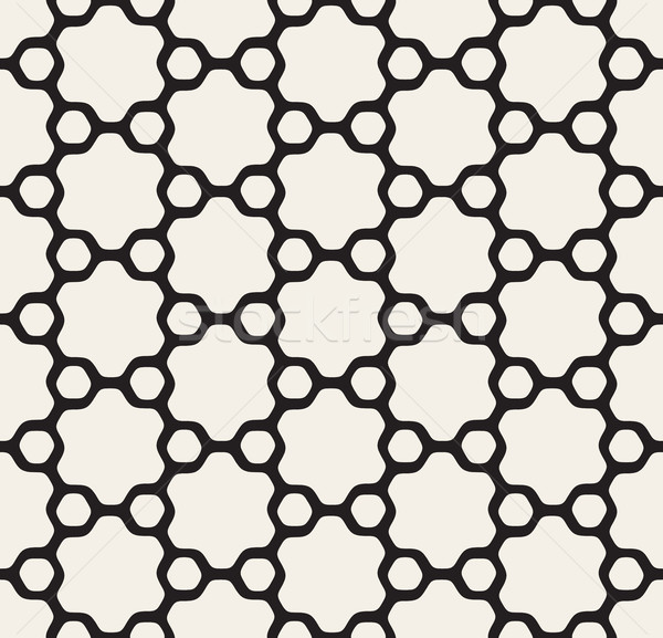 Vector Seamless Black and White Rounded Floral Hexagonal Star and Outlined Circles Pattern Stock photo © Samolevsky