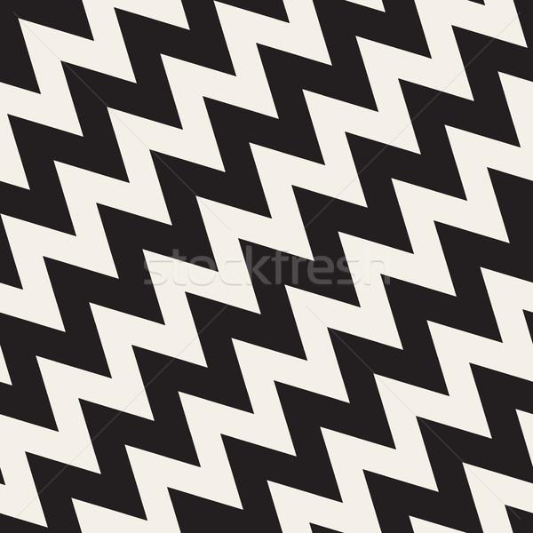 Vettore senza soluzione di continuità zig-zag diagonale linee pattern Foto d'archivio © Samolevsky