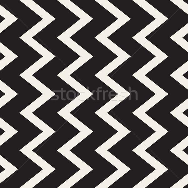 ベクトル シームレス 黒白 垂直 ジグザグ 行 ストックフォト © Samolevsky