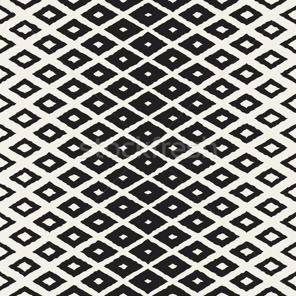 Vector Seamless Hand Painted Halftone Gradient Rhombus Pattern Stock photo © Samolevsky