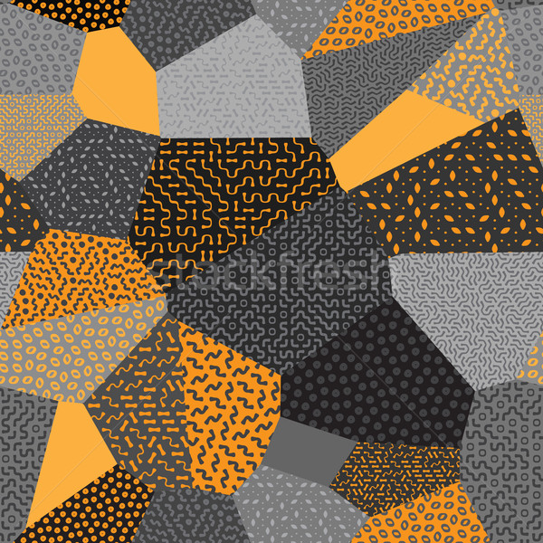 Vector Seamless Patchwork Mosaic Quilt Pattern in Orange and Gray Stock photo © Samolevsky
