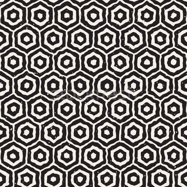 Vector naadloos zwart wit honingraat grid Stockfoto © Samolevsky