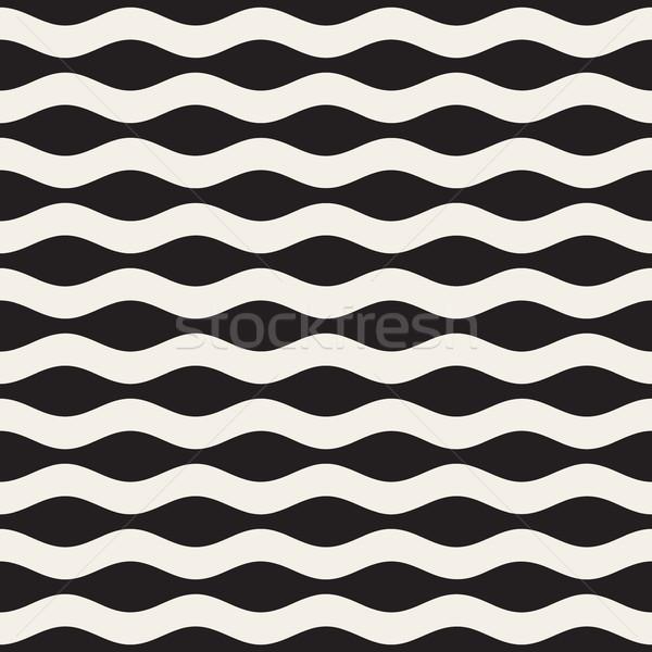 Dalgalı dalgalanma hatları vektör siyah beyaz Stok fotoğraf © Samolevsky