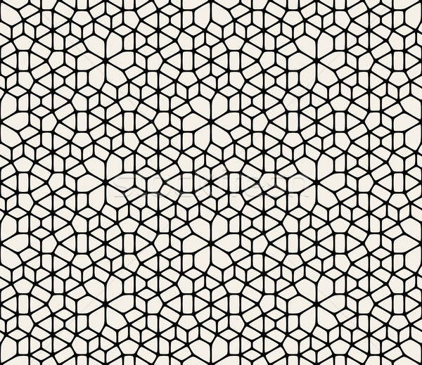 Vector Seamless Black And White Abstract Geometric Rounded Lace Pavement Pattern Stock photo © Samolevsky