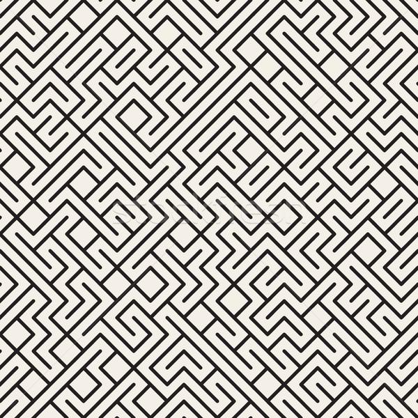 ベクトル シームレス 黒白 迷路 行 パターン ストックフォト © Samolevsky