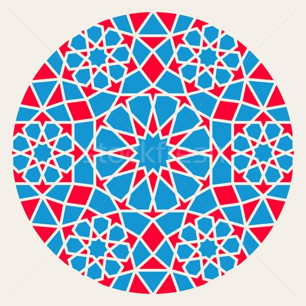 Vector Blue Red Islamic Ornamental Rosette Circle Design Element Stock photo © Samolevsky