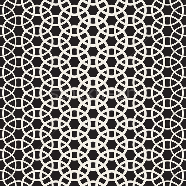 Circle Overlapping Shapes Lattice. Vector Seamless Black and White Pattern. Stock photo © Samolevsky