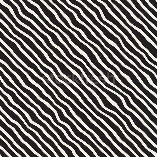 Vektor végtelenített feketefehér kézzel rajzolt átló vonalak Stock fotó © Samolevsky