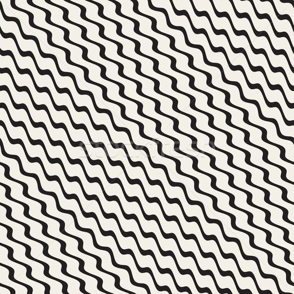 Wavy Ripple Stripes. Vector Seamless Black and White Pattern. Stock photo © Samolevsky