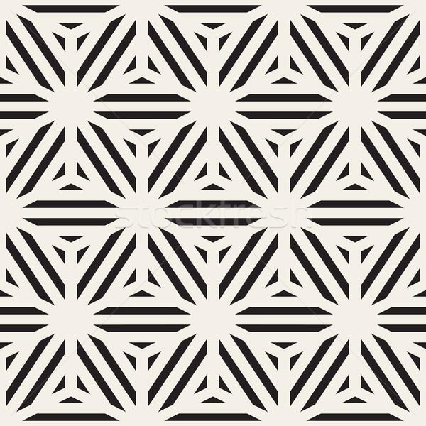 Vecteur blanc noir cube lignes grille Photo stock © Samolevsky