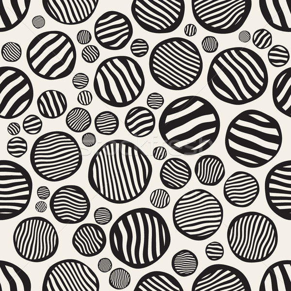 Vector Seamless Stripes Circles Jumble Hand Painted Pattern Stock photo © Samolevsky