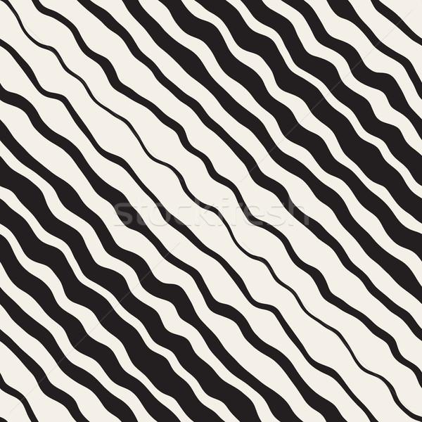 Vector sin costura blanco negro dibujado a mano diagonal ondulado Foto stock © Samolevsky