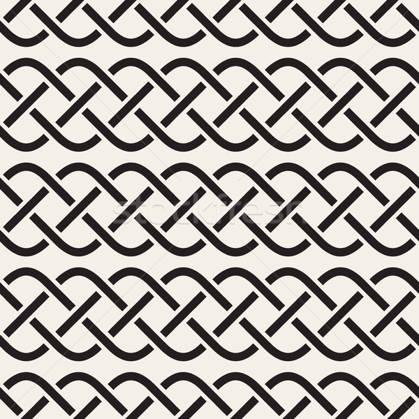 Interlaced Lines Celtic Ethnic Ornament. Vector Seamless Black and White Pattern Stock photo © Samolevsky