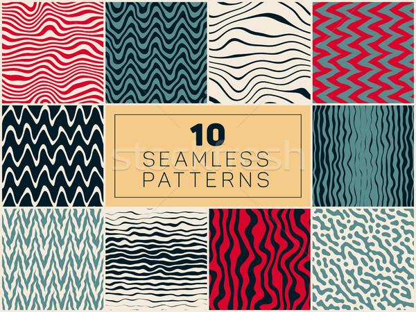 10 ベクトル シームレス 手描き パターン セット ストックフォト © Samolevsky