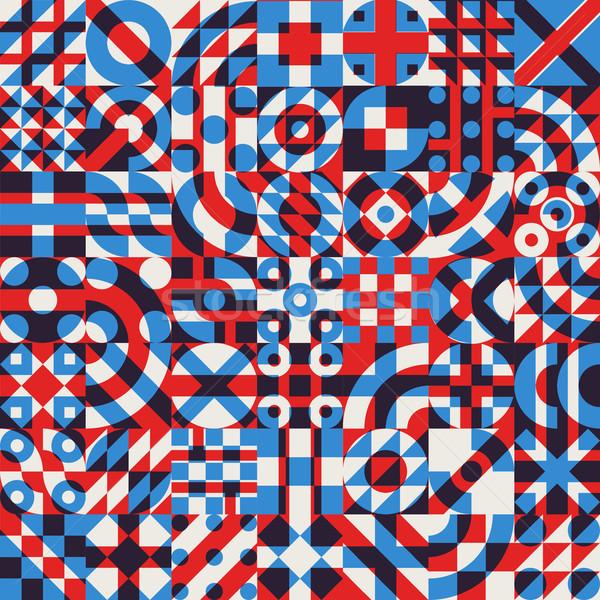 Vector Seamless Irregular Geometric Blocks Quilt Pattern Stock photo © Samolevsky