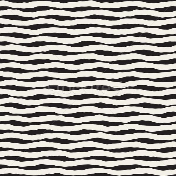 Foto stock: Vetor · sem · costura · horizontal · ondulado · linhas