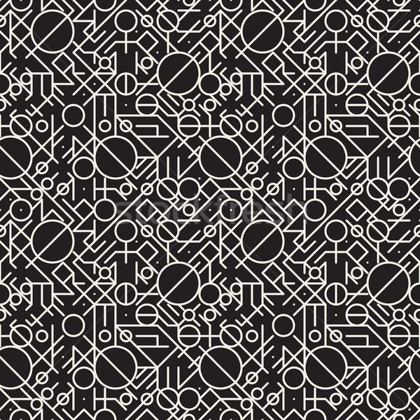 Vektör siyah beyaz geometrik hatları model Stok fotoğraf © Samolevsky