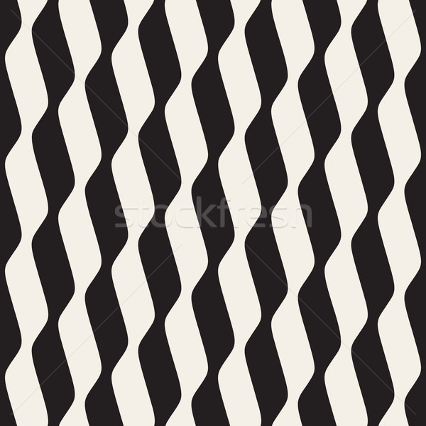 Vector Seamless Black and White Vertical Wavy Lines Stock photo © Samolevsky