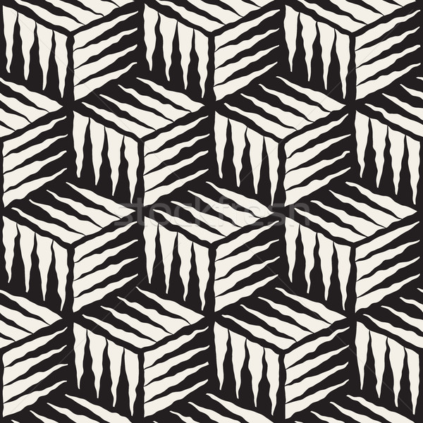 Vector Seamless Hand Painted Line Geometric Cube Rough Engraving Pattern Stock photo © Samolevsky