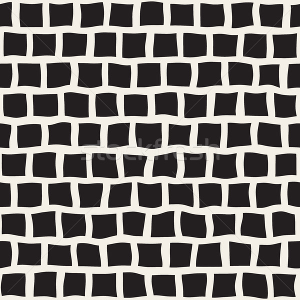 Vector Seamless Black and White Hand Drawn Rectangle Pavement Pattern Stock photo © Samolevsky