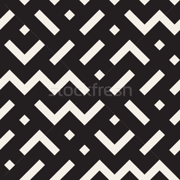 Vector Seamless Black and White Geometric Shapes Jumble Pattern Stock photo © Samolevsky