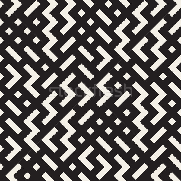 Vector Seamless Black and White Shapes Geometric Jumble Pattern Stock photo © Samolevsky