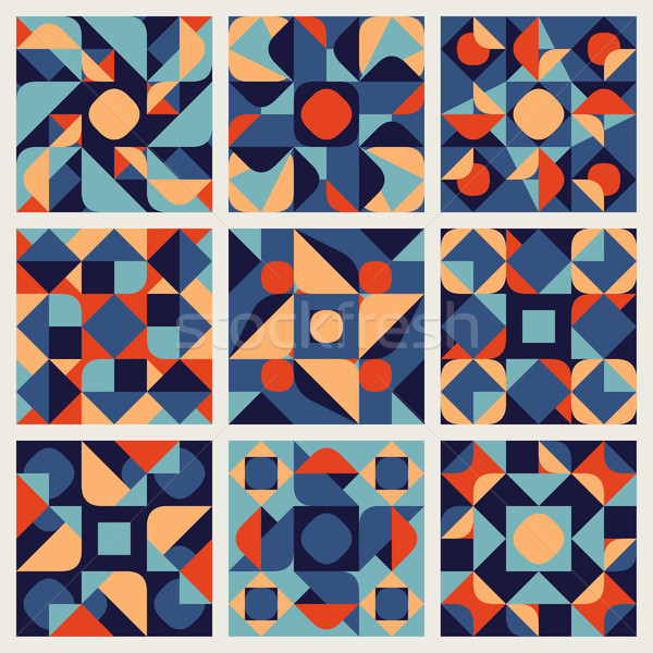 Set of Nine Vector Seamless Blue Orange White Color Retro Geometric Ethnic Square Quilt Pattern Coll Stock photo © Samolevsky