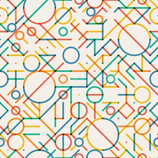 Vector Seamless Multicolor Geometric Lines Irregular Pattern Stock photo © Samolevsky