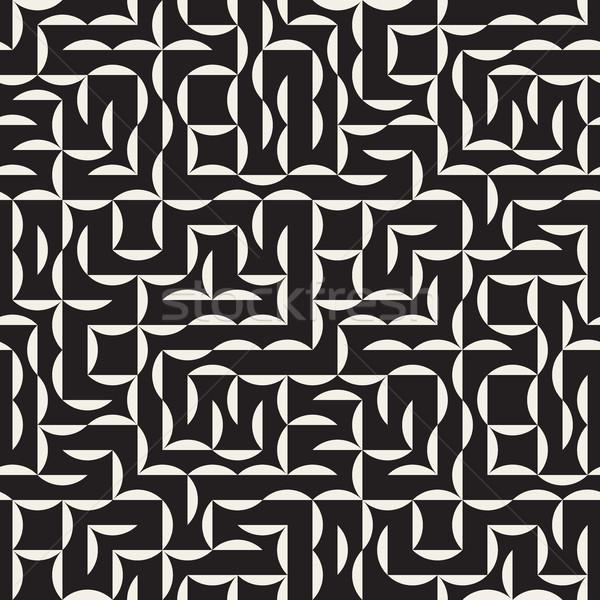 ベクトル シームレス 黒白 アーク グリッド 幾何学模様 ストックフォト © Samolevsky