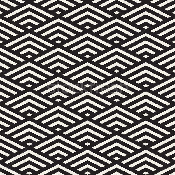 Vector Seamless Black and White Rhombus Grid Isometric Stripes Pattern Stock photo © Samolevsky